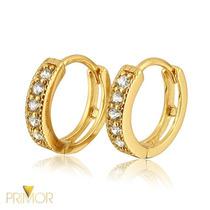 Brinco Em Ouro Tipo Argola Larga De 3mm E 24 Diamantes Br003