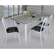 Conjunto De Mesa Movita Tampo Em Granito E 6 Cadeiras Branco