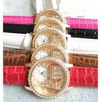 Relógio Customizado Importado Pulseira De Couro Torre Eiffel