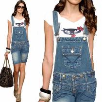 Macacao Jeans Corsario Feminino Strech 38 Frete Gratis