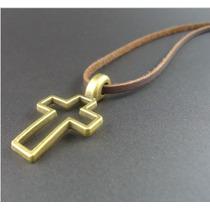 Colar Masculino Ou Feminino, Couro Genuíno Crucifixo