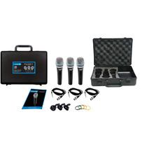 Kit 3 Microfones Profissionais Lyco Cabos+maleta Tipo Shure