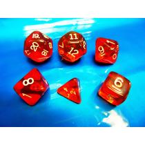 Jogo De Dados R P G, Kit Com 6 Peças Cor Vermelho ( Rpg )