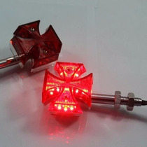 Mini Pisca Cruz De Malta Led Motos Custom Chopper Bobber