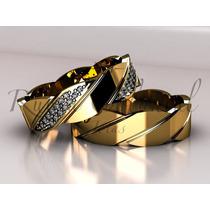 Aliança Em Ouro 18k, Casamento, Diferenciado, Diamantes.