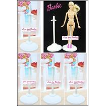 Lote Com 5 Suportes Brancos Para Barbie * Monster High * Ken