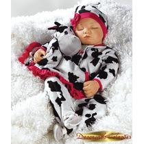 * Moon Boneca Dormindo Bebê Tipo Reborn + Enxoval Acessórios