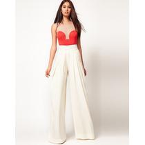 Pantalona M Calça Importada Elegante Drapeados Branco Linho