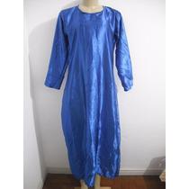 Vestido Longo Cetim Azul Tam G Usado Bom Estado
