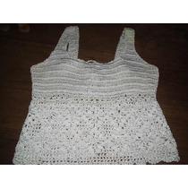 Blusa Croche Branca Detalhe Florais Tamanho M