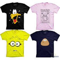 Camiseta Patolino Minions Pou Pikachu Desenho Anime Camisa