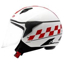 Capacete Ls2 Of559 Cafe Racer Branco Vermelho - 61/62