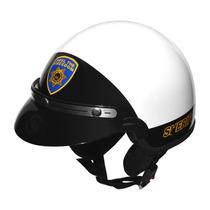 Capacete Kraft Rota 66 Sherif Sem Viseira Branco Preto - 57