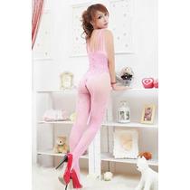 Conjunto Bodystocking Bodysuit Preta E Rosa Sexy Linda