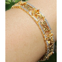 Jóia Pulseira C/ Diamantes E Citrino - Prata Ouro 18k