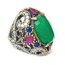 Patslu- Anel Prata Turca E Ouro Rubis,safiras,esmeraldas!!!!
