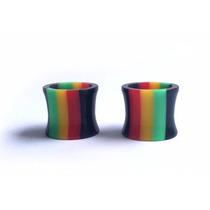 Alargador Orelha 12mm Vazado Reggae Colorido Bob Marley