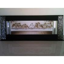 Quadro Santa Ceia Pintura Tela C/ Alumínio E Aplique Espelho