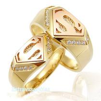Par De Aliança Ouro Amarelo E Rosê 18k/750 E Diamantes.