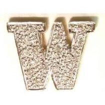 Pocao2005-pingente Ouro 18k Diamantes Letra W Frete Gratis