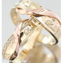 Par De Aliança Love Ouro Amarelo E Rosê 18k/750 E Diamantes.