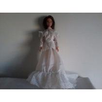 Vestido De Noiva Da Barbie Novo Acompanha Boneca De Brinde
