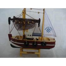 Barco Navio Pesca Roboque Madeira Tecido Decorativo Presente