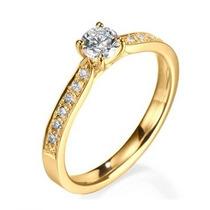 Anel Solitário Ouro Amarelo 18k Com Diamantes