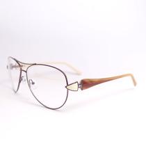 Armação Óculos Grau Aviador Roxo Marrom E Bege 13-110 Mj