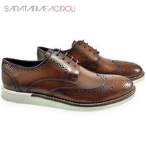 Sapato Masculino Social Oxford Brogue Calçado Couro Legítimo
