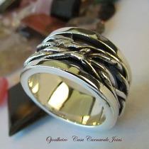 Anel Coroa De Cristo Prata 950k Maciça Ojoalheiro Lindo