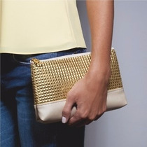 Bolsa Chique( Clutch ) Eudora Dourada - Couro Sintético