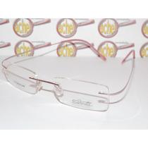Armação Óculos Grau Silhouette Rosa Flexivel Titanium B668