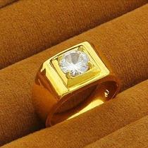 Anel Masculino Aro 25 Banhado Em Ouro Com Cristal - J1575f