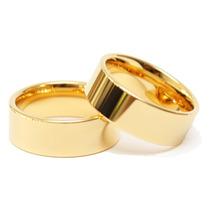 Par Alianças Moeda Antiga Cor Ouro Anatômicas Casamento