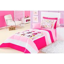 Edredom Solteiro Pink Rosa E Branco Meninas + Acessórios