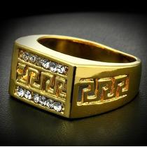 Anel Masculino Aro 27 Banhado Em Ouro Com Cristais - J1439d