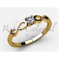 Anel Solitário - Infinito - Ouro 18k -10 Pontos Diamante.