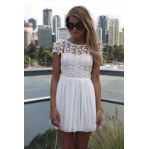 Vestido Renda Guipir Chiffon Festa Luxo Importado - Estoque
