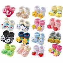 Lote 03 Meias De Bichinhos Estilo Pantufinhas Para Bebês