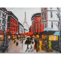 Quadro Pintura Óleo Sobre Tela - Belle Paris Tour Eiffel