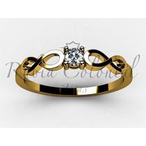 Anel Solitário Infinito Ouro 18k 10 Pontos Diamante.