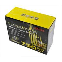 Fonte Real 750w Modular Akasa Venom 80plus Pfc Ativo Atx
