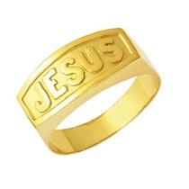 Anel Jesus Em Ouro 3,7gr 18k 750 Com Certificado