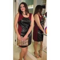 Vestido Piquet Malha Vinho Couro Ecologico Preto Atmosphere