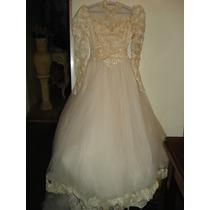 Vestido De Noiva C/ Renda Bordada E Grinalda Comprida