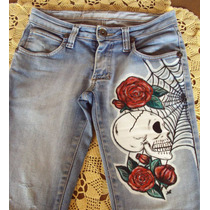 Linda Calça Em Jeans C/ Lycra Customizada E Pintada À Mão!!!