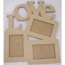 Painel Porta Retrato Love 3 Fotos 10x15 Mdf Cru