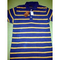 Camiseta Camisa Polo Abercrombie & Fitch Azul Amarela Medio