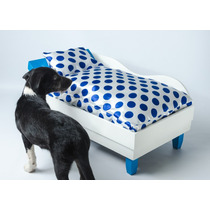 Cama Divã Para Cães Gatos Em Madeira Pintura Laca + Almofada